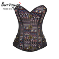 Burvogue New Steampunk Waist Control Corset 14 Steel Bones Corset Top With Rivet Leather Corset Bustier Gothic Bustier Overbust