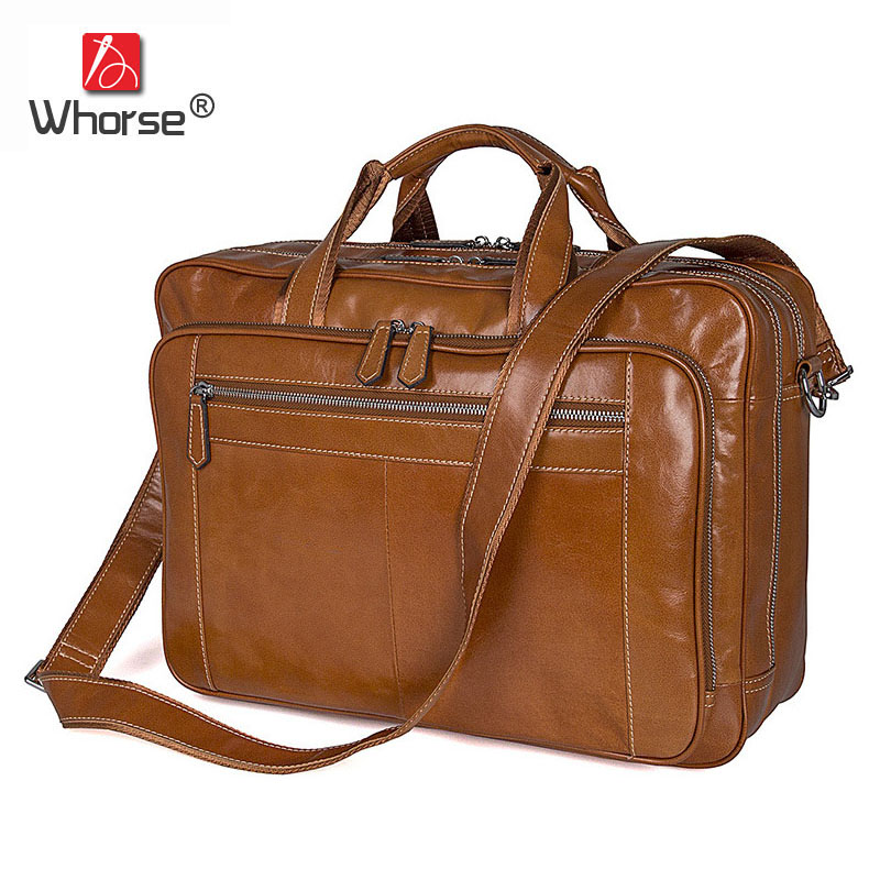 Famous Brand Luxury Genuine Leather Mens Business Briefcase 17 Inch Laptop Bag Cowhide Crossbody Messenger Bags For Men W73800 new mens briefcase handbag famous brand pu leather business messenger bags men s crossbody bags bolsos mens shoulder bag