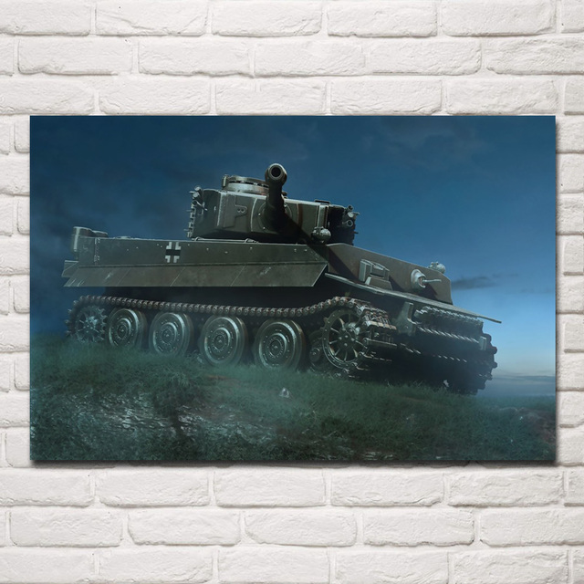 US $7 43 38% OFF|Art World War II WW2 Tiger German heavy tank night attach  QX091 room home wall modern art decor wood frame poster-in Painting &