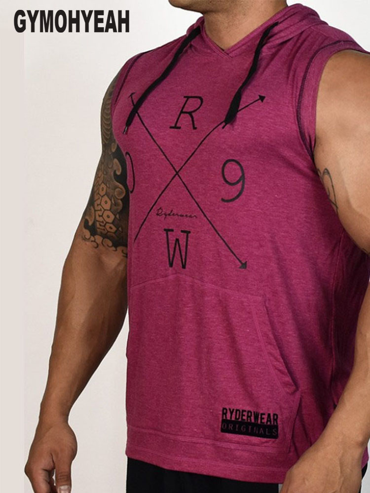 GYMOHYEAH Style Males's Bodybuilding Hoodies Sleeveless Hoodie Tracksuit Tops Muscle Vest Gyms Clothes Informal Exercise Tanks Prime hoodie sleeveless, sleeveless hoodie, bodybuilding hoodie,Low cost hoodie sleeveless,Excessive High quality sleeveless...