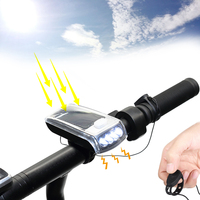 LED Solar Horn Lamp Headlight Bicycle Light USB Charging Lamp Outdoor Riding Equipment Fittings Built In