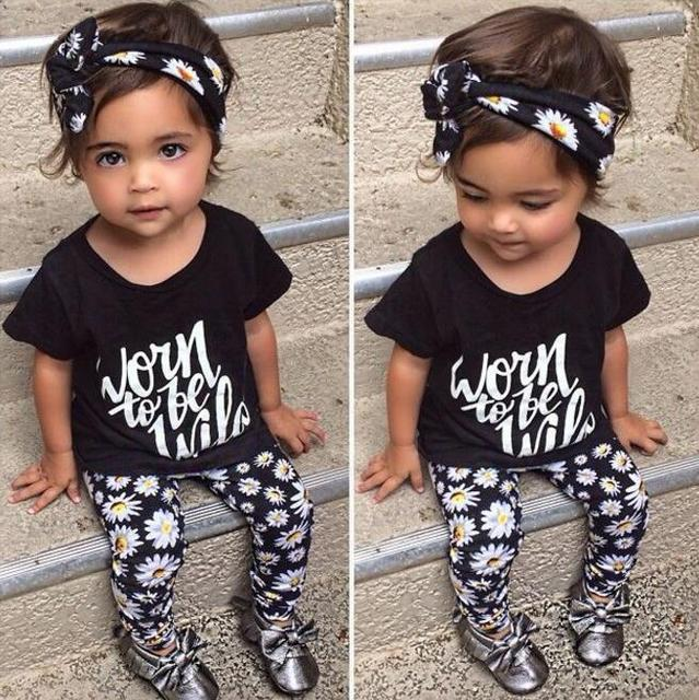 Baby children clothes outfit boutique kid trendy clothing three piece set  suit summer baby girls flower print tops and pants 1cbb1208e