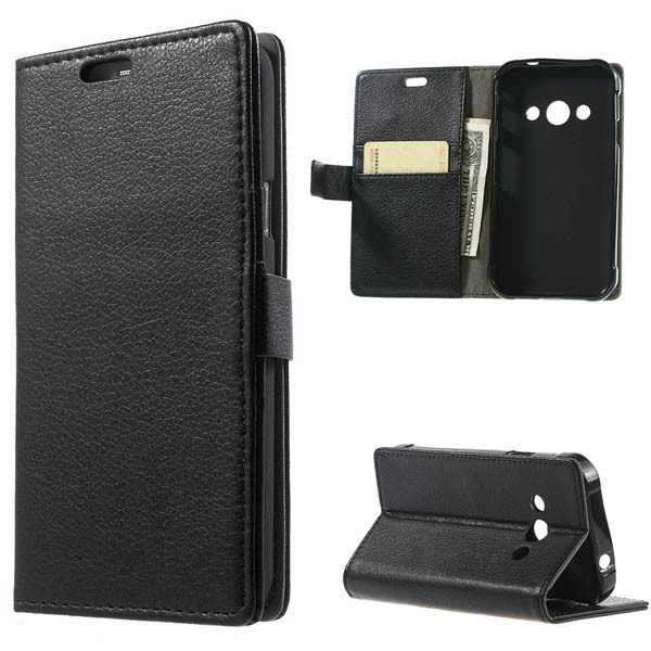 For Samsung Galaxy Xcover 3 G388F case Black Litchi grain Leather Wallet flip with Stand cover case Xcover 3 G388F phone bags