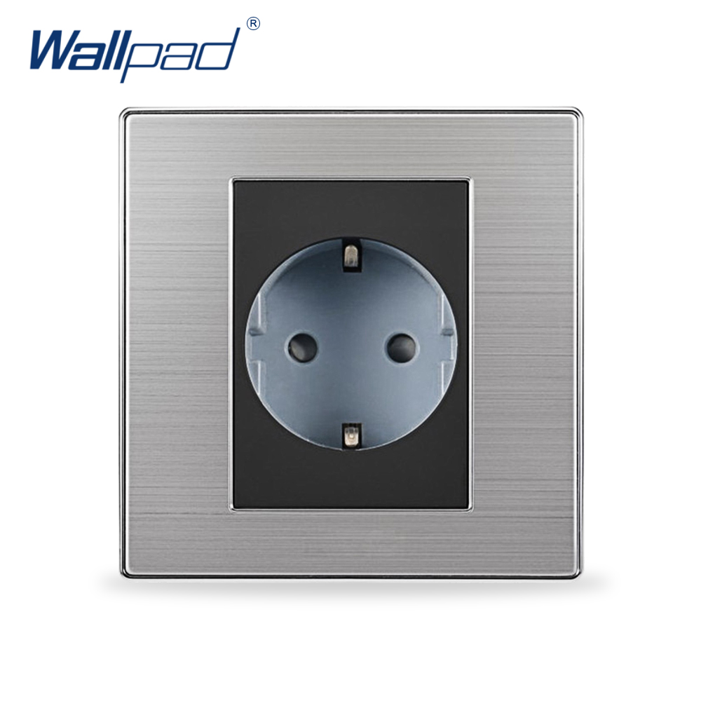 Hot Sale 2 Pin EU Socket Schuko Wallpad Luxury Wall Electric Power Socket Outlet EU German Standard 16A AC 110~250V eu 2 pin german socket wallpad luxury satin metal panel eu 16a electric wall power socket electrical outlets for home schuko