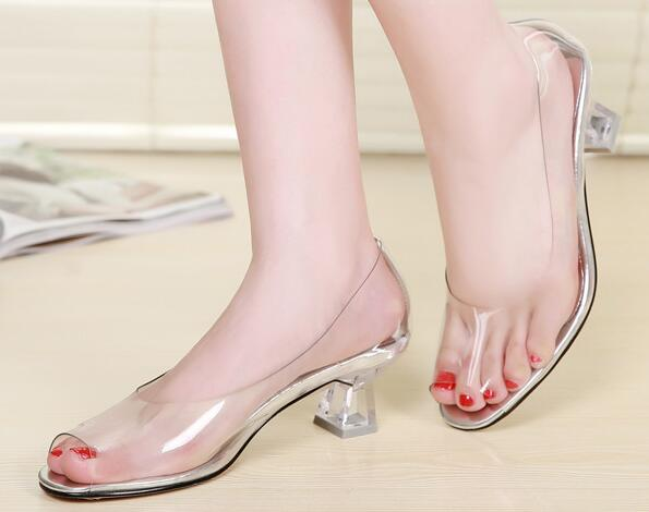 High Quality all Transparent Peep Toe Sandals Women Shoes  2017 New High-heeled Comfortable Crystal Lady Shoes Size 34-40 2016 hot sale crystal wedges transparent women high heeled sandals plus size 40 43 rhinestone peep toe jelly shoes aa016