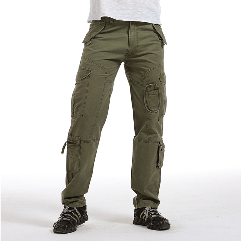 HOT!! Fashion Multi-Pocket Mens Cargo Pants men High Quality Plus Size Trousers Army green Overalls ...
