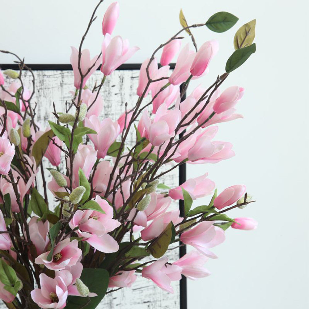 Magnolia Branch Artificial Flowers High Quality Fake Flower for wedding decorate home decoration Party Home Decor NEW C531