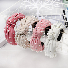 Hair Accessories Vintage Knotted Pearl Hairband for Women Girls Elastic Bow Center Knot Headbands Headwear