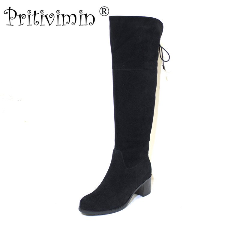 Pritivimin FN79 Ladies kide suede  bottes femme winter women handmade warm real wool lined shoes girls over the knee high boots pritivimin fn75b winter women warm real wool fur handmade shoes ladies genuine leather botte femme girl over the knee high boot