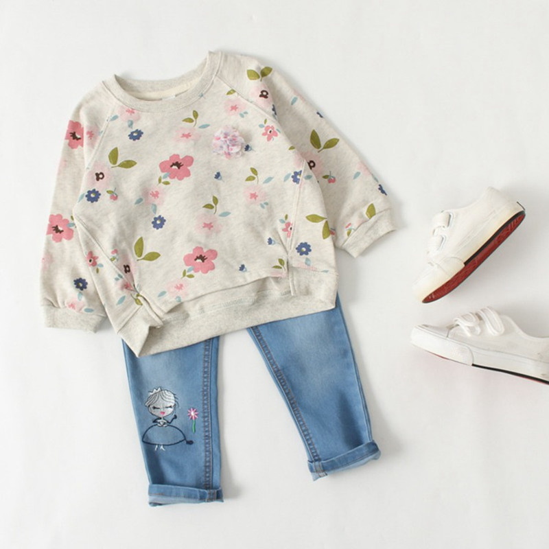 Floral pattern little princess casual sweater soft kids for Long sweaters and shirts