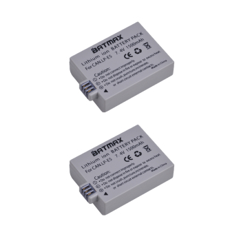 2Packs 1500mAh LP-E5 LPE5 LP E5 Battery for Canon EOS Rebel XS, Rebel T1i, Rebel XSi, 1000D, 500D, 450D, Kiss X3,X2, F фото