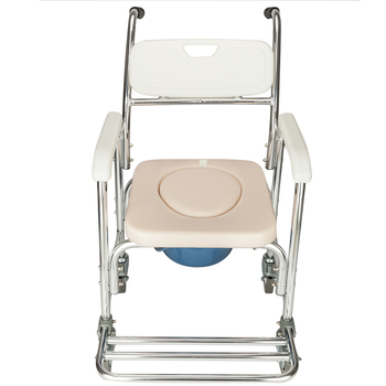 4 In 1 Aluminum Rolling Chair For Elderly Old People Handicapped Seniors Pregnant Women Bath Chairs Con Wheels White - US Stock