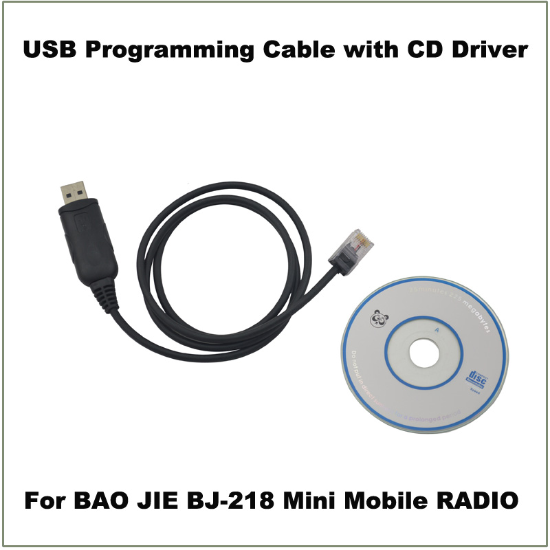 USB Programming Cable 8 Pin RJ45 With CD Drive For Baojie BJ-218 Mini Mobile Car Radio Transceiver