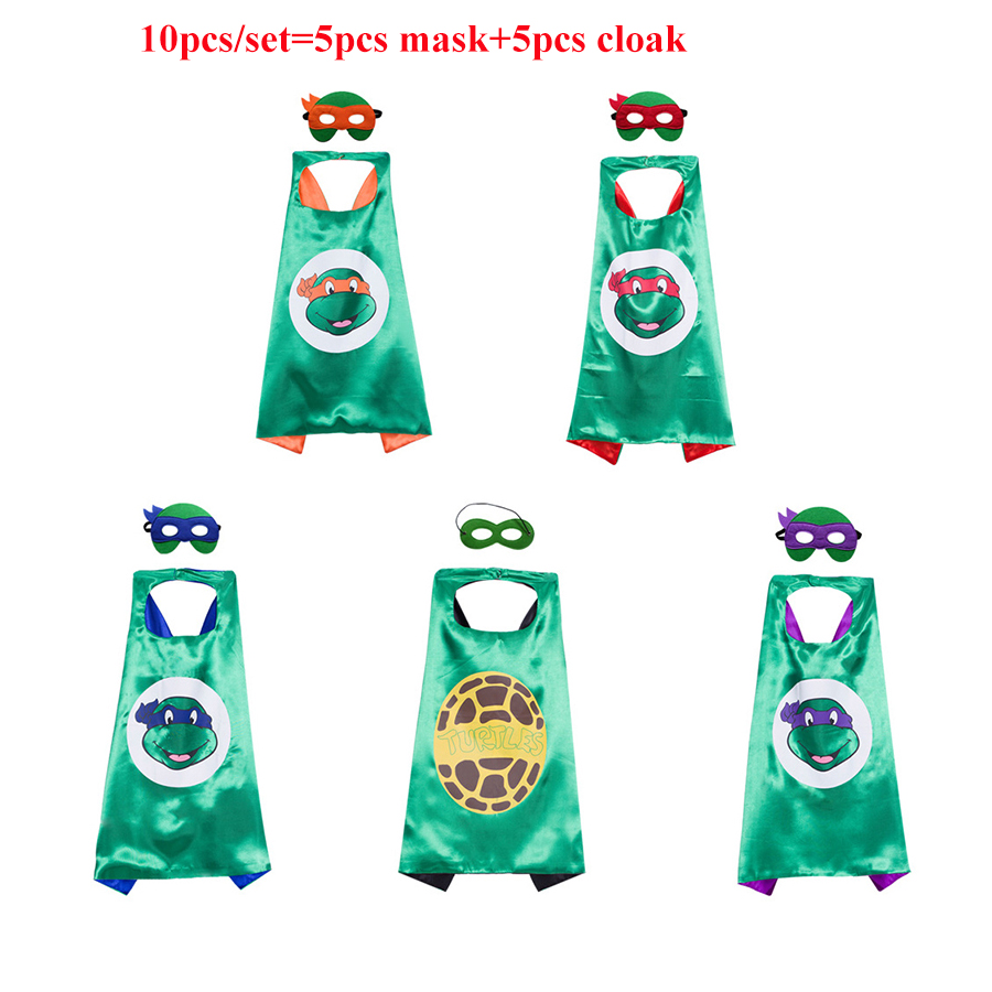 10 pcs Ninja Turtles Mask Double layer Cloak Teenage Mutant Ninja Turtles Kid Birthday Gift Costume Cosplay Party Supplies