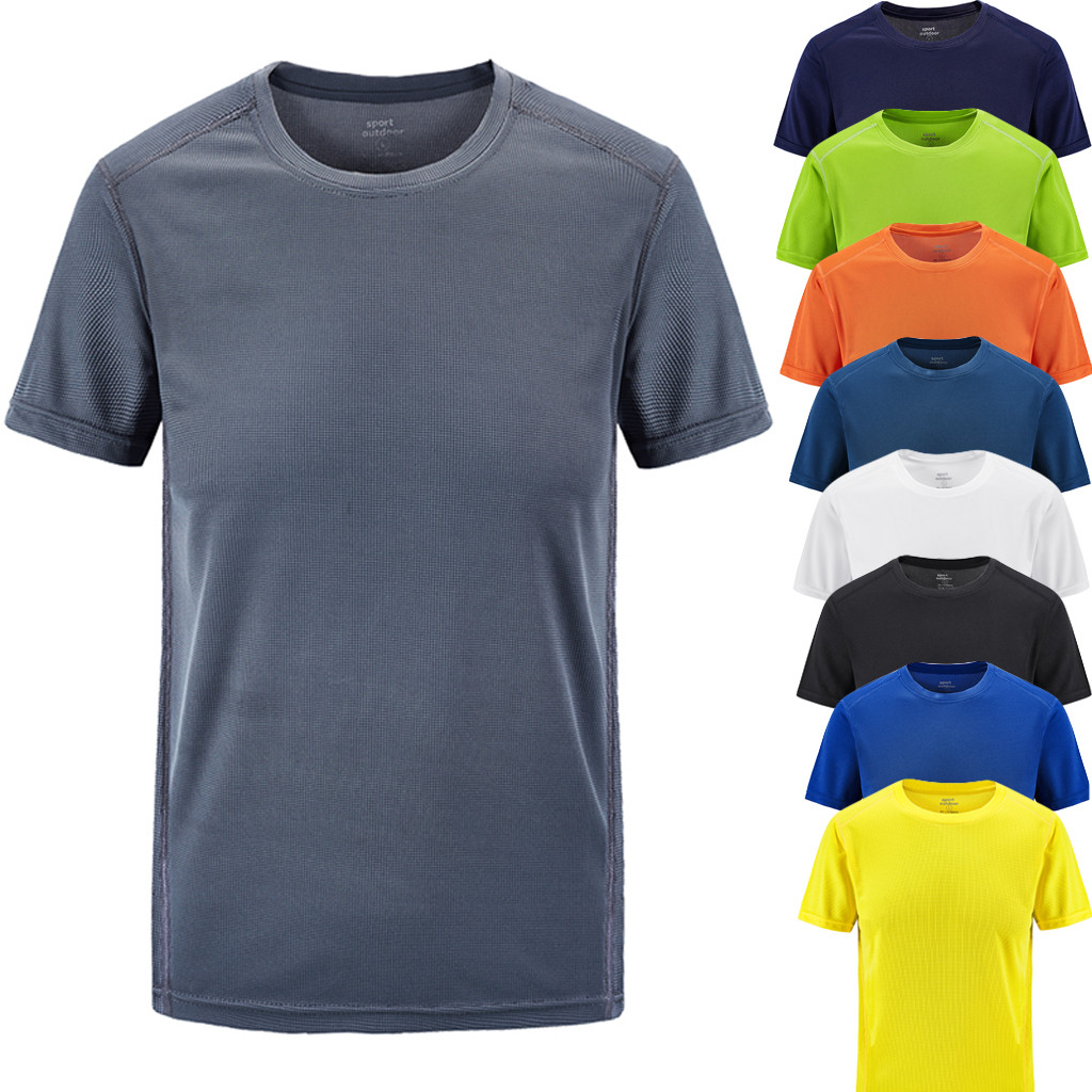 T  -  shirt   men's summer Casual   T     shirt   100% Cotton O-Neck Outdoor sports fitness quick-drying large size fit Breathable top L0507