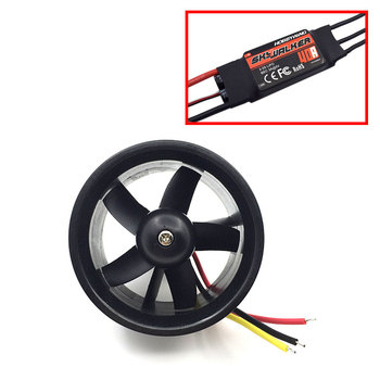 цена на QX-Motor 64mm duct EDF unit with 4500KV brushless motor for RC model with 40A ESC
