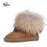 Free Shipping High Quality Natural Wool Snow Boots Genuine Leather Women Boots Real Fox Fur Winter