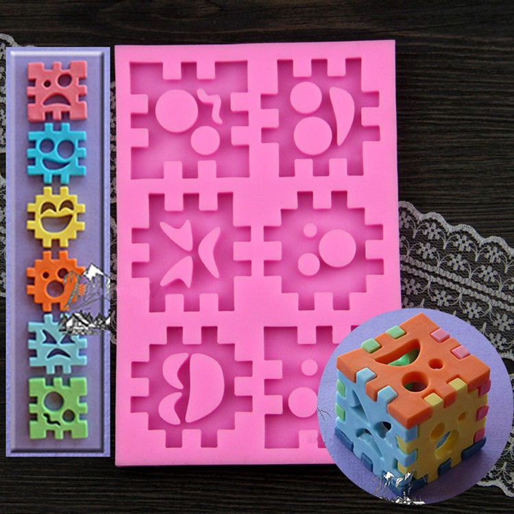 Luyou 3D Puzzle Blocks Toy Cake Silicone Baking Molds Baby Birthday Fondant Cake Decorating Tools Chocolate Candy Moulds FM100