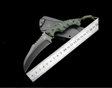 2016 very sharp Outdoor Claw Knife D2 Steel +G10 Survival Hunting Bending Knives (Gray/White Blade) Green Handle