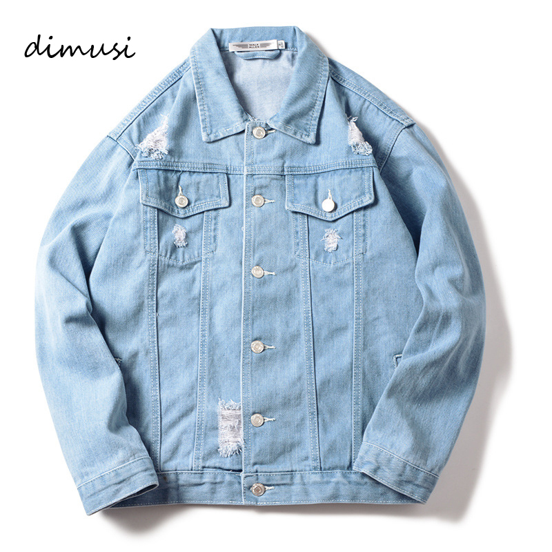 DIMUSI Autumn Winter Mens Denim Jacket Trendy Fashion Thin Ripped Denim Jacket Mens Jeans Jacket Outwear Male Cowboy Coats,TA226