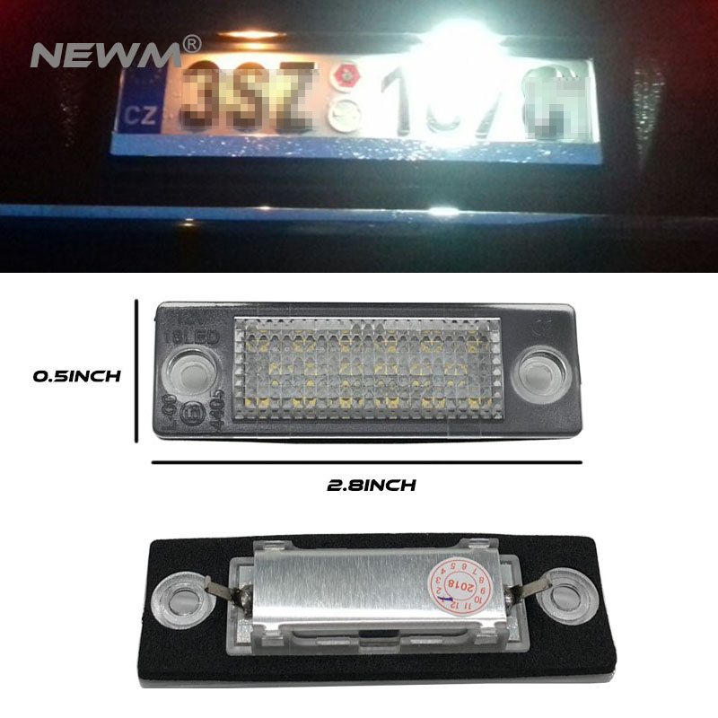 цена 1pair New 18 LED License Number Plate Light Lamp For VW T5 Caddy for Golf Passat Touran Jetta for Skoda Super White 12V