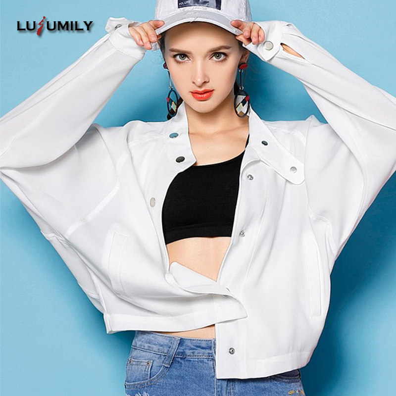 c2dcbc0a0acde Lusumily College Basic Bomber Jacket Women Bf Style Stand Collar Print  Fashion Casual Jackets Plus Size 4xl Windbreaker Jacket -in Basic Jackets  from ...