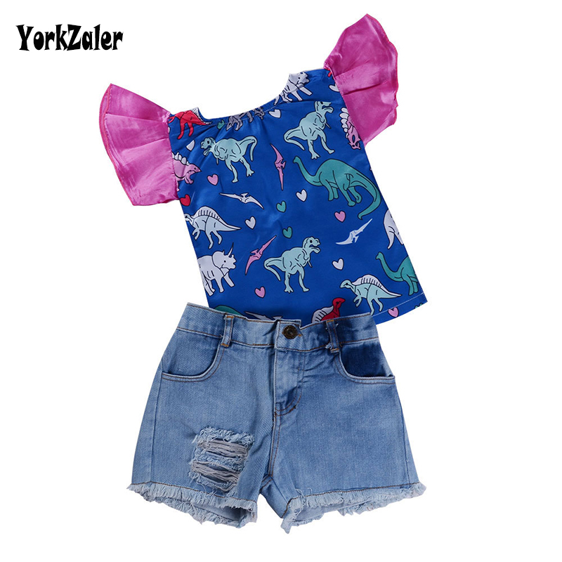 Yorkzaler Kids Clothing Set 2018 Summer Printed Dinosaur Puff Sleeves Tops+Holes Jeans Girl Clothes Suit Infant Baby Outfits