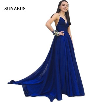 Sweetheart Spaghetti Straps A-Line Prom Dresses Royal Blue Chiffon Cheap Prom Gowns Pleats Top Girls Graduation Gowns SP41