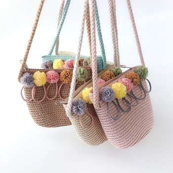 Mini Casual Summer Straw Cross-body bag purses Handbag Messenger Cute Children girls Shoulder