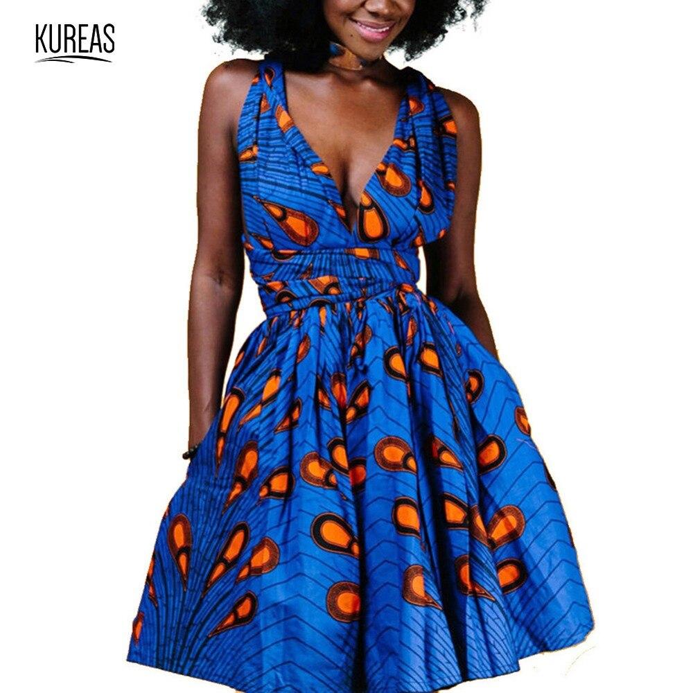 Kureas African Dress Women Nation Polyster Africa Printing Sexy Summer Dresses National Print Vestido Dashiki Kanga Clothing