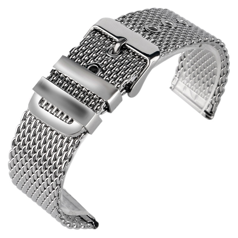 20mm 22mm 24mm Fashion Stainless Steel Mesh Watchband Bracelet Silver Wrist Band Strap Solid Link Pin