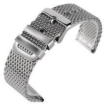 20mm 22mm 24mm De Mode En Acier Inoxydable Maille Bracelet Bracelet Argent poignet de Courroie De Bande Solide Lien Pin Boucle + 2 Printemps Bars