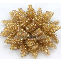 HOT Champagne Gold Crystal Beads Handmade Flower Brooch DIY Jewelry Wedding Party African Women Brooch Gift Free Shipping ABD042