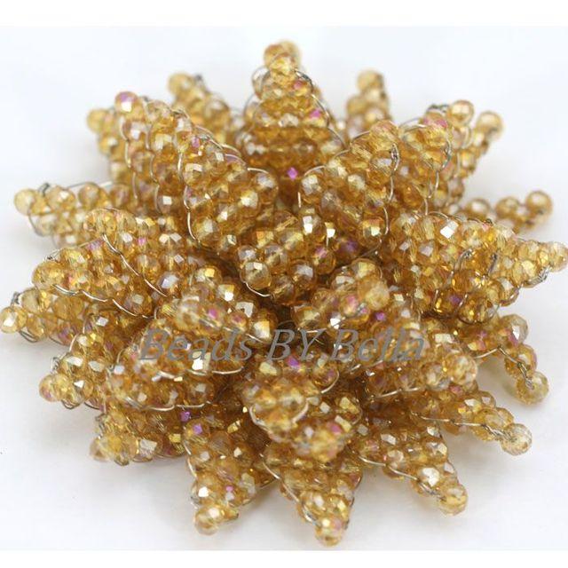Hot Champagne ouro contas de cristal broche de flor artesanal DIY festa de casamento jóias africano mulheres broche de presente frete grátis ABD042