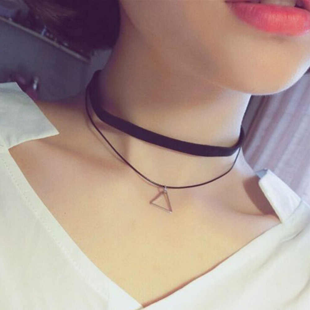 Fashion Faux Leather Choker Simple Black Velvet Rope Silver Triangle False Collar Necklace for women collier Bijoux