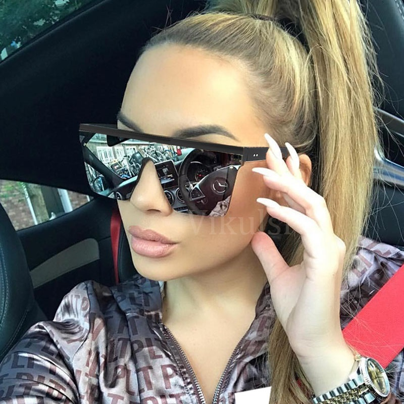 Unisex Fashion 2019 Ladies Square Sunglasses Women Oversized Shades Vintage Brand Designer Silver Mirror Sun Glasses For Female
