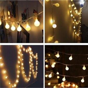 Image 2 - 10 متر 20 متر 30 متر 50 متر 220 فولت الجنية جارلاند LED الكرة سلسلة أضواء مقاوم للماء مصباح للزينة لشجرة عيد الميلاد لوازم ديكورات زفاف للمنزل