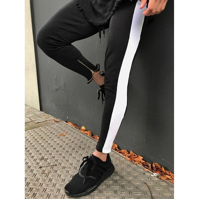 e40f89e480 Hip hop Men's side striped Track pants fashion bottom zipper Pencil Pants  elastic waist streetwear Joggers trousers sportswear