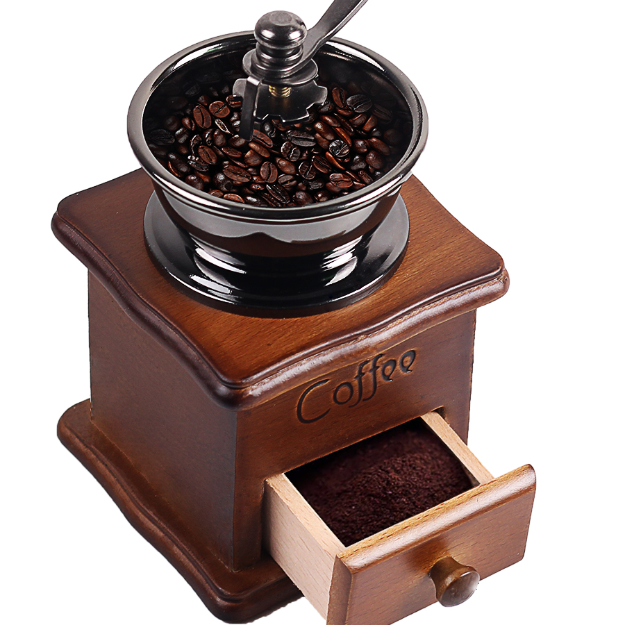 Wooden Handmade Coffee Grinder Retro Wood Design Coffee Mill Maker Stainless Steel Retro Coffee Machine Grinder Pepper Grinder  5306 classical wooden manual pepper spice mill grinder muller wood