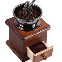 Wooden Handmade Stainless Steel Retro Coffee Machine Grinder Pepper Grinder
