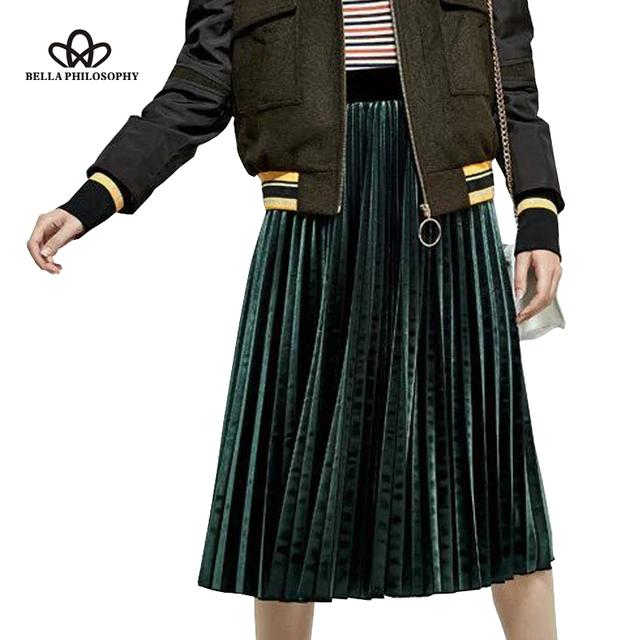 Bella Filosofía de Las Mujeres 2016 nuevo otoño invierno de terciopelo Retro plisado falda de cintura alta azul Tibetano verde