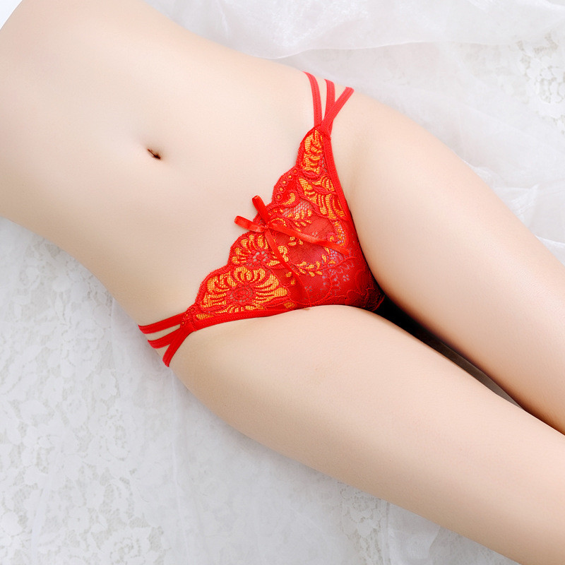 Sexy Panties Underwear Ladies Lace Hollow Elastic Briefs Low Waist T Back Transparent Women Underwear G String Majtki Damskie in Panties from Novelty Special Use
