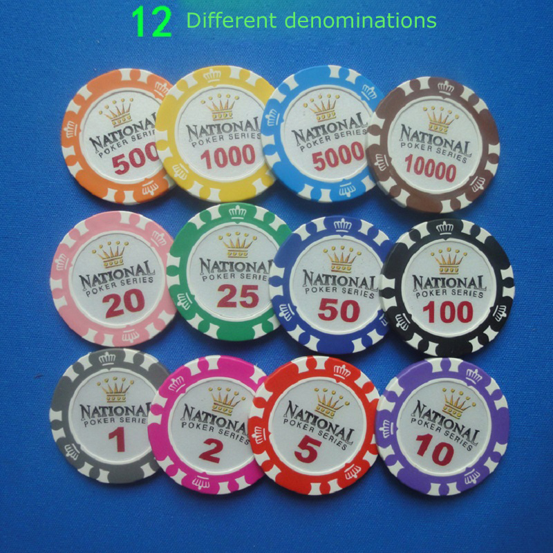 Crown Chip Wholesale 12PCS/Lot Crown National Poker Chips 14g Texas Holdem Poker Chips Clay+Iron Poker Club Value Casino Chip
