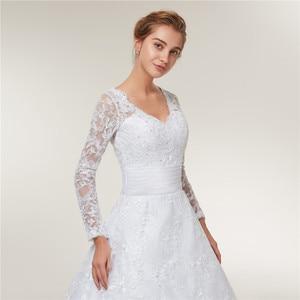 Image 5 - Fansmile Long Sleeves Lace Vestido De Noiva Wedding Dresses 2020 Train Custom made Plus Size Wedding Gowns FSM 403T