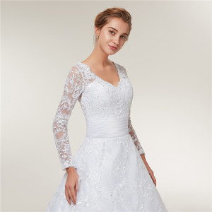 Image 5 - Fansmile Vestido De novia De encaje De manga larga, vestidos De novia hechos a medida, De talla grande, FSM 403T, 2020