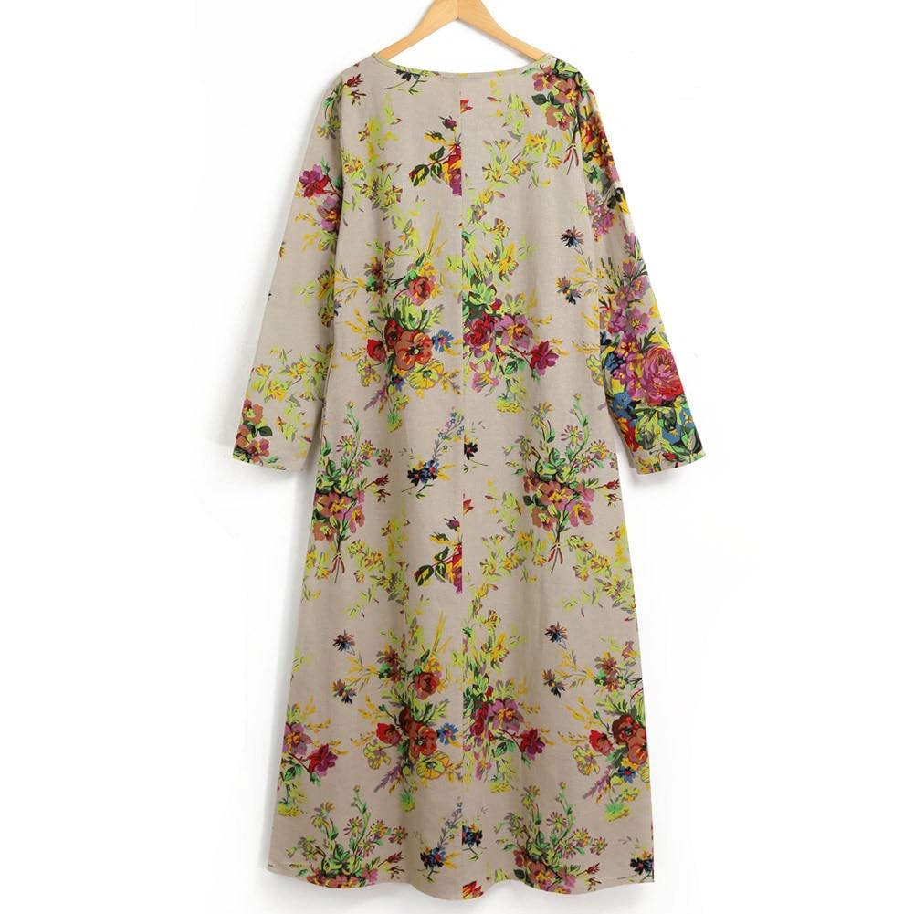 EaseHut 19 New Vintage Women Maxi Floral Dress Plus Size Long Sleeves Pockets O Neck Cotton Linen Loose Robe Dresses vestidos 12