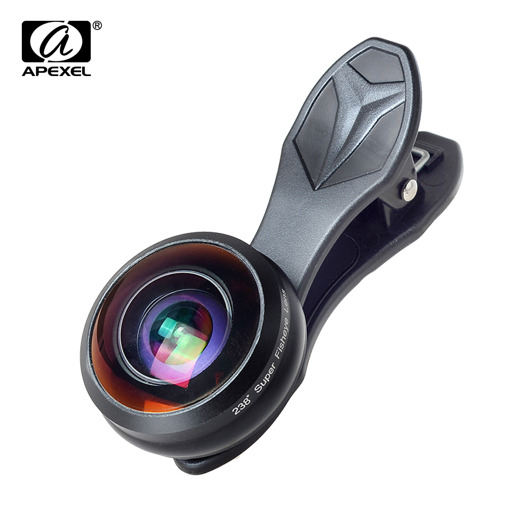 imágenes para Apexel Universal Profesional HD Teléfono Lente de La Cámara Kit Desmontable Gran Angular ángulo de 238 grados lente Ojo de Pez para el iphone 6 s 5 Xiaomi 238F
