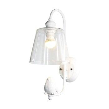 Cute E27 LED Resin Bird Modern Simple Clear Wall Lamp Minimalist Toughened Glass Bedroom Corridor Stair Loft Light Lighting