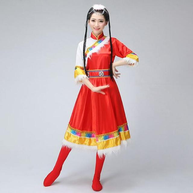 db476e20346 Dance clothes Costume Mongolian gowns dress Women clothing Mongolia Tibet