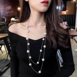 RAVIMOUR 2017 Imitation Pearl Jewelry Long Necklaces & Pendants For Women Fashion Multilayer Collar Mujer Statement Perlas Kolye